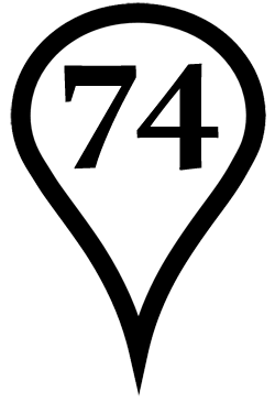 The white map icon with the number 74 indicates the location of the 74th Ave. Library